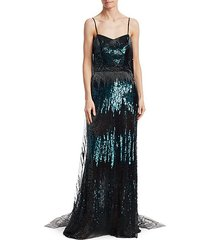 cape-style sequin gown