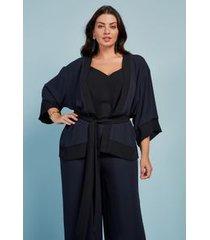 blusa kimono bicolor azul marinho/p