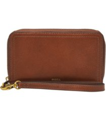 fossil logan mid size zip around leather wallet wristlet