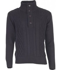sweater boton medio negro kotting