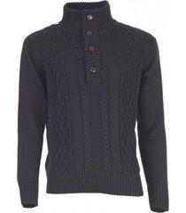 sweater boton medio negro kotting