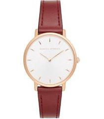 women's rebecca minkoff major leather strap watch, 35mm
