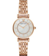 emporio armani women's rose gold-tone stainless steel bracelet watch 32mm ar1909