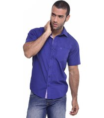camisa slim manga corta quest color azul oscuro
