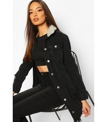 borg longline jean jacket, black