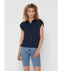 blusa jacqueline de yong mc azul - calce holgado