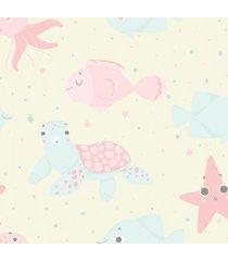 papel de parede fundo do mar para quarto de beb㪠57x270cm - multicolorido - dafiti
