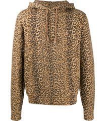 saint laurent leopard print hoodie - brown