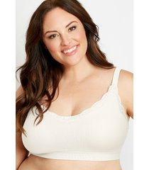 maurices plus size womens white ribbed lace v neck seamless bralette