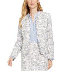 calvin klein petite fringed tweed jacket