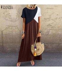 zanzea vestido de playa con cuello en o de manga corta para mujer vestidos de retazos sueltos ocasionales tallas grandes -café