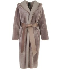 blancha merino light kimono coat w/suede belt