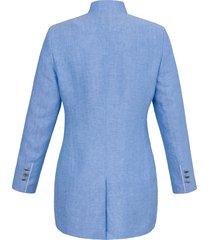 lange blazer van 100% linnen met staande kraag van steinbock blauw