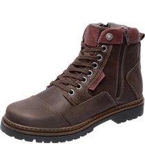 bota coturno em couro mega boots 6017 cafã© - marrom - masculino - dafiti