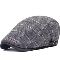 cappello di berretto da cotone plaid cappotto uomo donna cappello in pendente di retro forward