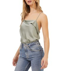 astr the label drape front satin cami bodysuit, size x-small in sage at nordstrom