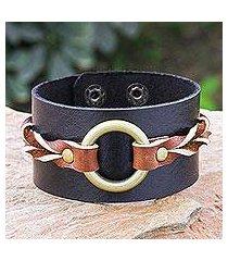 leather wristband bracelet, 'chocolate summer' (thailand)