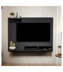 kit painel para tv 48 polegadas dubai preto e aparador retro 1 gaveta e adega intenso preto