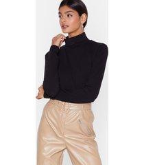 womens roll the credits turtleneck high-leg bodysuit - black