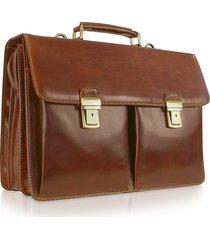 chiarugi designer briefcases, handmade brown genuine italian leather briefcase