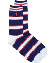 polo ralph lauren stripe on ribbed crew socks