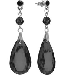 2028 silver-tone black briolette teardrop earrings
