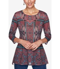 ruby rd. women's knit embellished paisley top