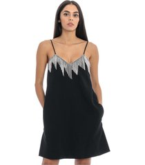 dress with swarovsky fringes