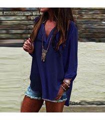 zanzea verano las mujeres con cuello en v manga larga ol trabajo normal ladies tops blusa de la camisa suéter más del tamaño -azul