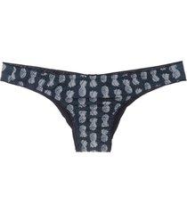track & field abacaxi printed bikini bottom - blue