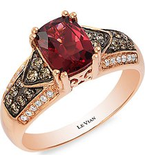 chocolatier® 14k strawberry gold®, raspberry rhodolite®, chocolate diamond® & vanilla diamond® ring