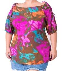 blusa estampada com amarração plus size feminina
