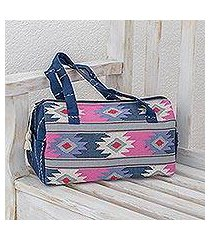 cotton travel bag, 'pastel geometry' (guatemala)