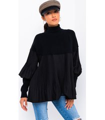 akira sophisticated af micro pleated turtleneck tunic