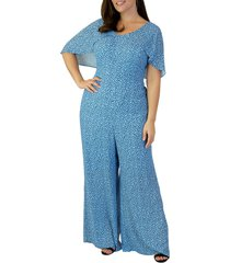 plus size women's maree pour toi scatter dot cape sleeve georgette jumpsuit, size 22w - blue