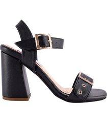 sandalia  negra con tacón charls