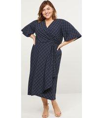 lane bryant women's printed faux-wrap midi dress 10/12 navy & white grid