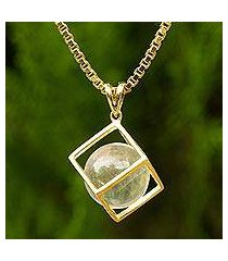 gold plated quartz pendant necklace, 'translucent raindrop' (thailand)
