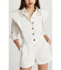 river island womens white broderie button down playsuit
