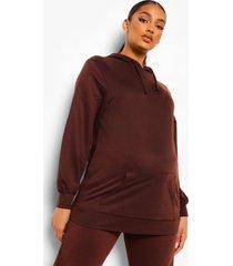 zwangerschaps oversized hoodie, chocolate