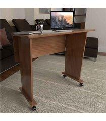 mesa para computador multiuso dobrável scott com rodízio amêndoa - pnr móveis