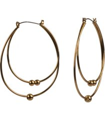 style & co gold-tone beaded double-hoop drop earrings, created for macy's