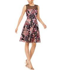 tahari asl illusion floral-embroidered dress