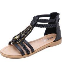 sandalias planas con cremallera retro para mujer