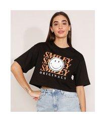 camiseta cropped de algodão smiley manga curta decote redondo preta