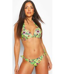 neon garden moulded triangle push up bikini, neon-yellow