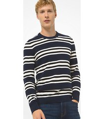 mk pullover in maglia di cotone testurizzata a righe - notte (blu) - michael kors