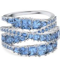 swarovski silver-tone crystal intertwined wrap ring