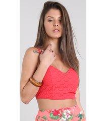 top cropped feminino em laise decote v vermelho