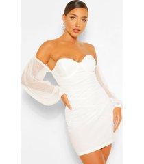 bodycon-mini-jurk van mesh met blote schouder, wit